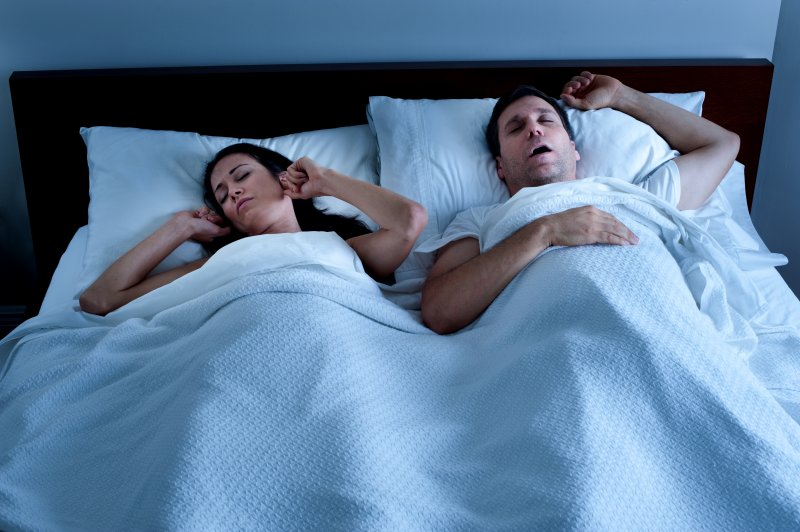 wife upset with husband snoring